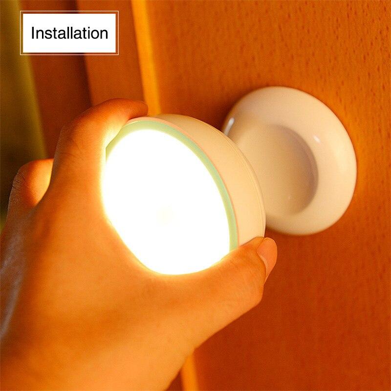 Nueva llegada USB recargable Sensor de movimiento activado luz de pared luz de la noche de la lámpara de inducción para Closet gabinete corredor