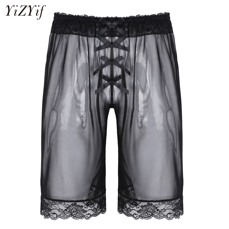 YiZYiF Brand New Gay Mens Sissy Lingerie Soft Mesh Hot Panties Fashion Sheer See-through Lace Bowknot Lightweight Loose Shorts
