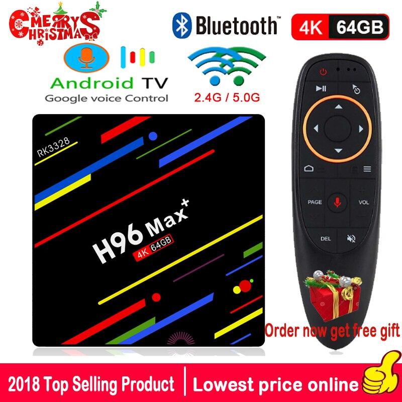 H96 MAX PLUS TV BOX Android 8.1 Google Voice Control 4GB 32GB 64GB RK3328 Quad Core 4K H.265 WiFi 2.4G+5G BT4.0 Media Player