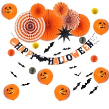 Halloween Party Decorations Set Happy Banner Face Balloons Paper Fans Funny Black Orange  Trick or Treat Decor New