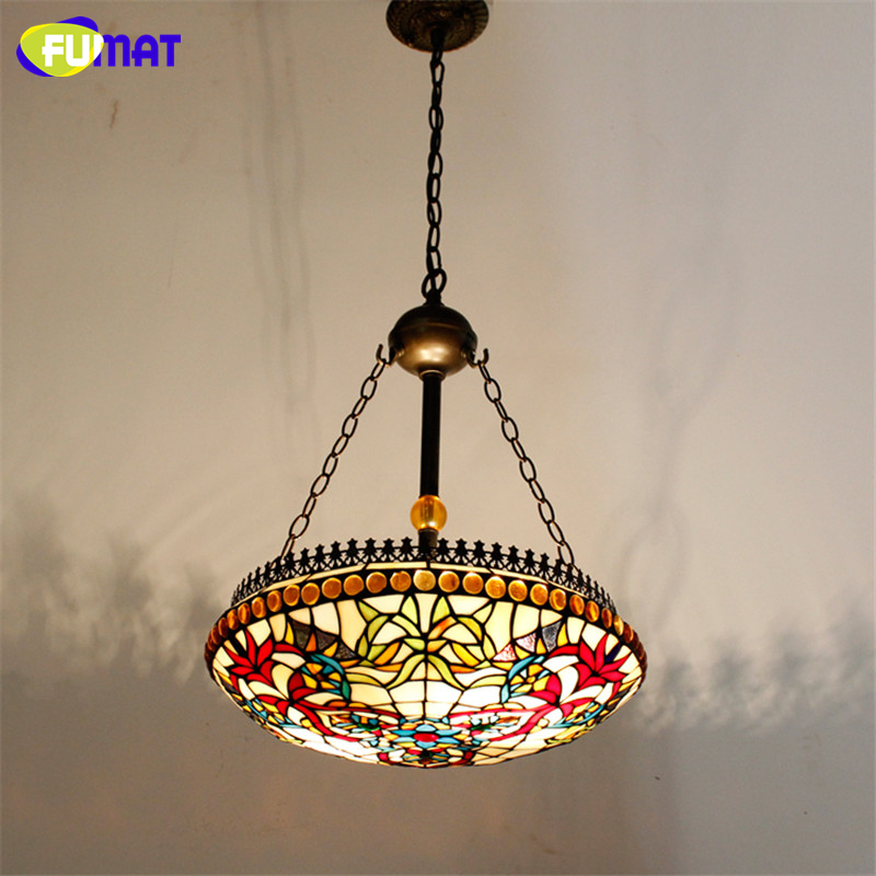FUMAT Stained Glass Pendant Light Antique Style Glass Lampshade Lamp Loft Living Room Hotel Corridor Restaurant  Light Fixtures fumat stained glass pendant lamps european style glass lamp for living room dining room baroque glass art pendant lights led