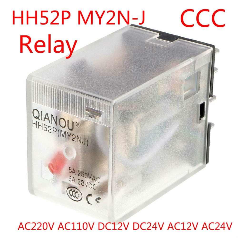 HH52P/MY2N-J AC 110V AC220V DC12V DC24V bobine rouge indicateur lumineux 8 broches DPDT électromagnétique usage général relais de puissance