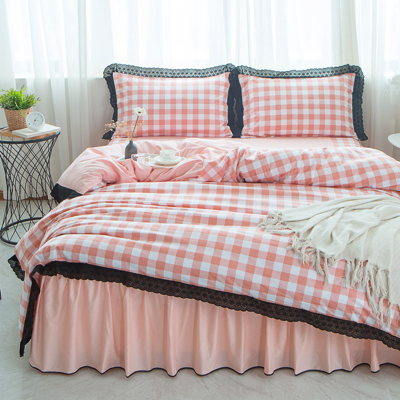 Pink Black plaid Cotton Lace King Queen Twin size Women Girl Bedding Set Bed Skirt Duvet Quilt cover 4Pcs Pillowcase Rural style