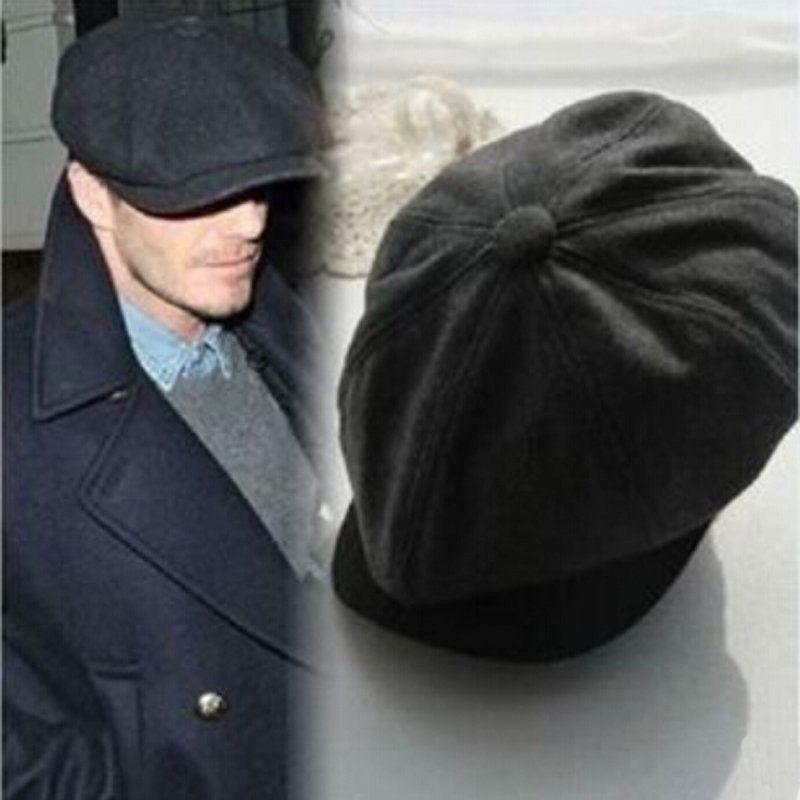 Beret-Hat Gatsby-Cap Newsboy Woolen Black Flat Herringbone Retro Vintage Winter Ladies