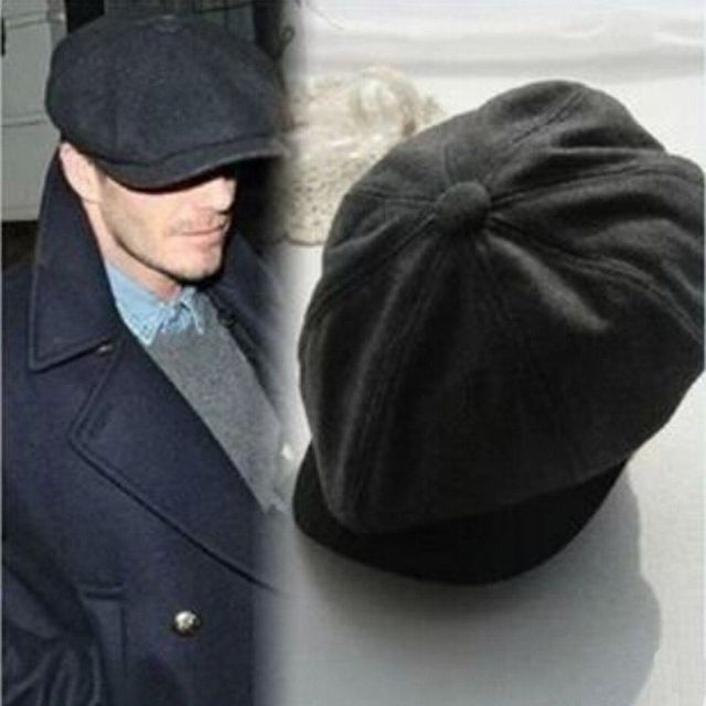Unisex Tweed herringbone Gatsby Cap Men Woolen Vintage Beret Hat Black Mens  Ladies Flat 8 Panel Baker Boy Newsboy Winter Retro 640a1f6b2ed