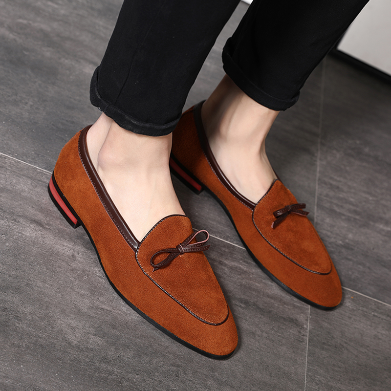 Yomior Real Leather Men Formal Pointed Toe Loafers Vintage Casual Office Work Shoes Italian Wedding Dress Oxford Chaussure Homme