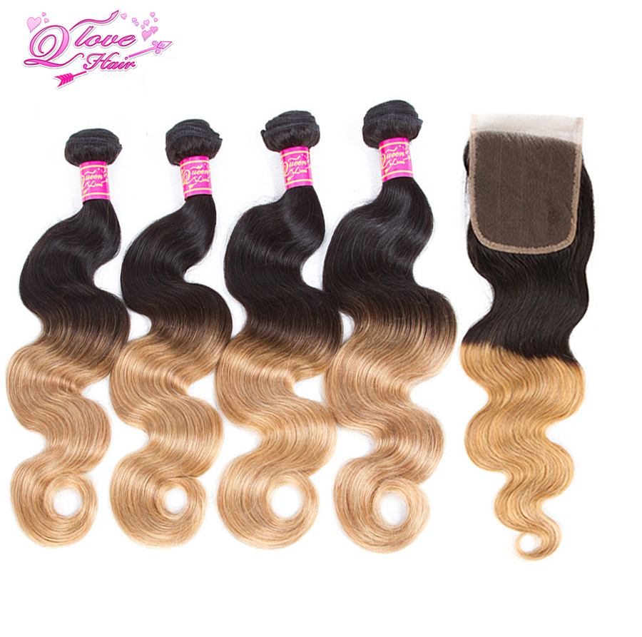 Queen Love Hair Pre-Colored Ombre Indian Body Wave Hair 4 Bundles With Closure 1B/27 2Tone Human Hair Non Remy Hair Extensions