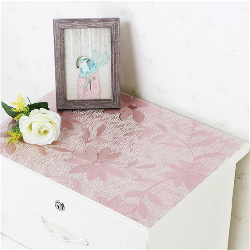 kitchen home waterproof floral anti scald Dining oil proof crystal transparent rectangular PVC mat cover table cloth placemat in Tablecloths from Home Garden