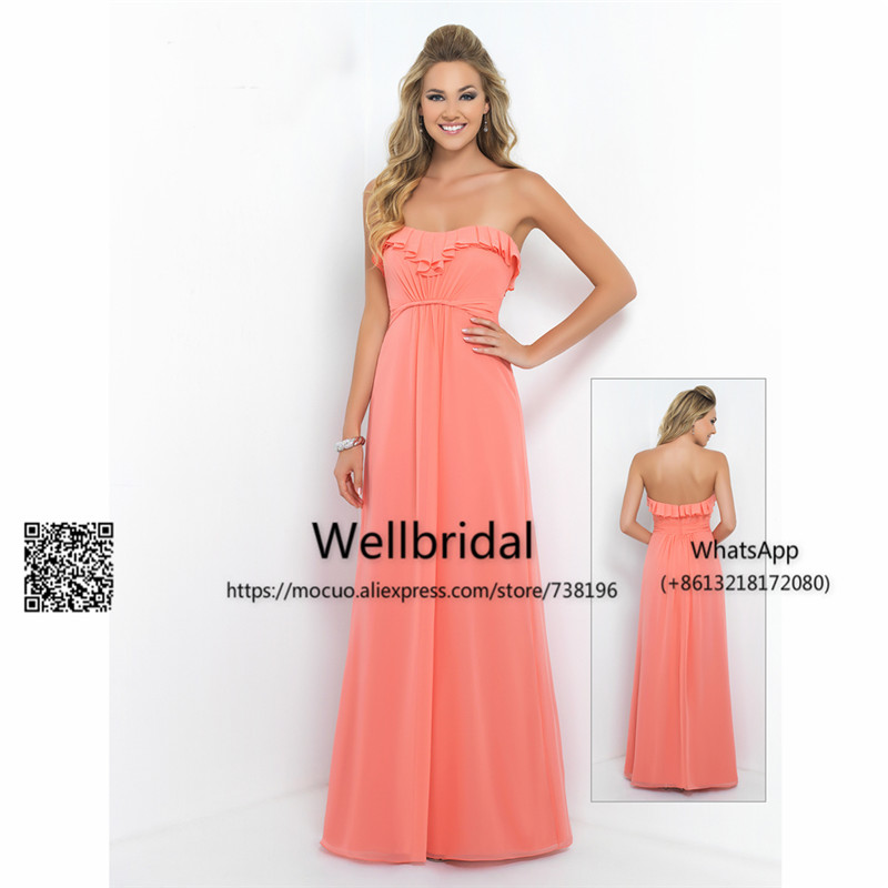 Simple 2017 New   Bridesmaid     Dress   Long Off shoulder Honor Party   Dress   Watermelon Chiffon Prom   Bridesmaid     Dresses