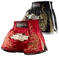 Мужчины Полиэстер Шорты Мма Муай тай BoxingShorts Pantalones Hayabusa Черный Красный Тигр Kick Boxeo Санда Вышивка Борьба