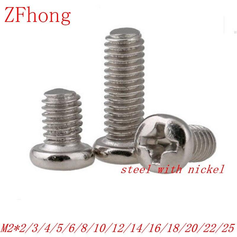 1000pcs M2 steel with nickel phillips round pan head machine screw length 2mm to 25mm m2 5 nylon phillips pan head machine screw insulation screw