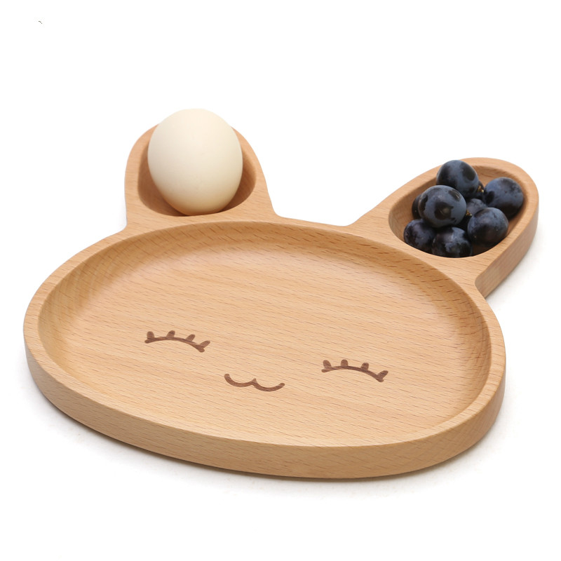 Hot 1 piece kawaii cartoon beach wood rabbit food dishes for Cuisine wooden