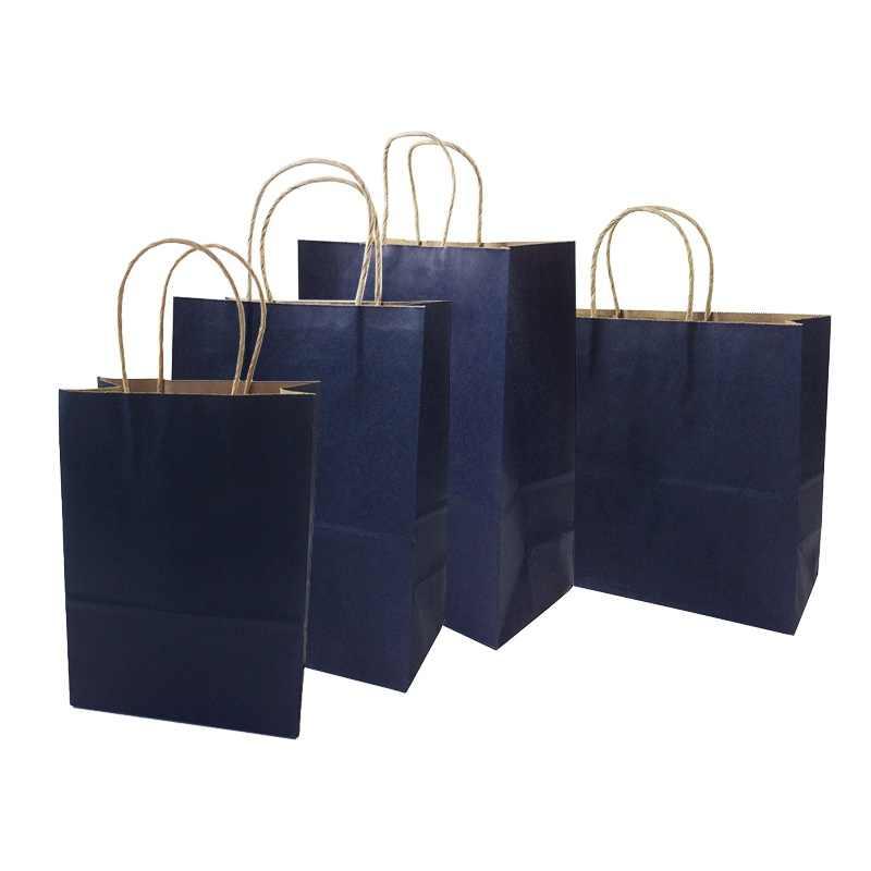 10 шт./партия 4 размера глубокий крафт-бумага синего цвета сумка с ручкой перерабатываемая сумка модная ткань обувь подарочные магазины бумажные сумки