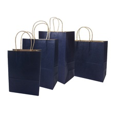 10 Pcs/lot  4 Size Deep Blue Kraft Paper Bag With Handle Recyclable Bag Fashionable Cloth Shoes Gift  shops Paper Bags 10 pcs lot festival gift kraft bag hot pink shopping bags diy multifunction recyclable paper bag with handles 7 size optional