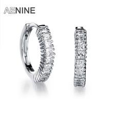 AENINE Classic Circle Design Micro AAA Cubic Zirconia Hoop Earrings Jewelry Luxury Gold Color Wedding Earrings For Women AKE644