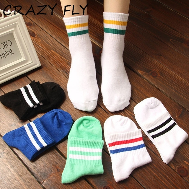 e852c0073ad CRAZY FLY Women Men Socks With Print Two Striped Cotton Crew Happy Hiphop  Skate Short White Black Harajuku Female Summer Sock