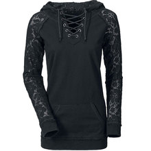 Fashion Woman Lace Sweatshirt Casual Hooded Pullover Stylish V Neck Top Sweatshirts Black Spring Women Clothing S /M /L /Xl