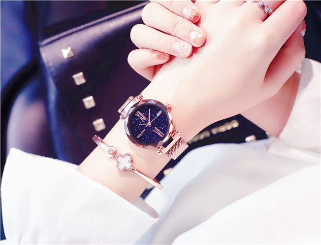 Charming Purple Women Watches Minimalism Casual Starry Sky Lady Wristwatch Magnet buckle Fashion Luxury Brand Female Watch Gift 6