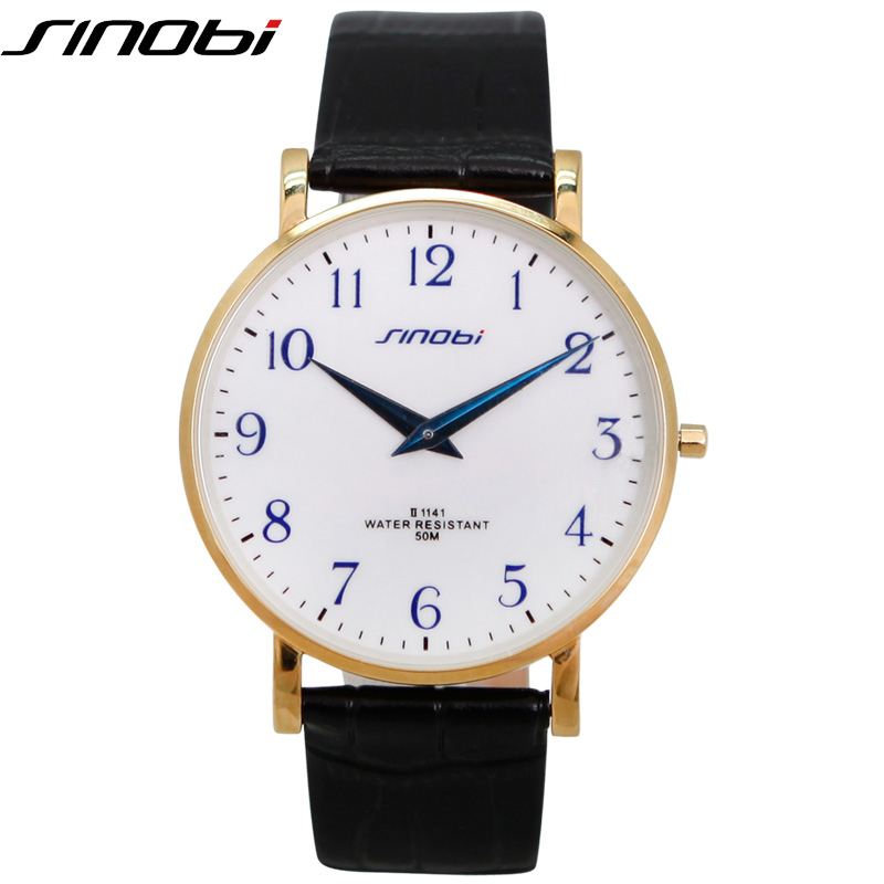 SINOBI Quartz-watch Men Leather Band High Quality Relogio Masculino 2018 New Arrival Office Vogue Stainless Srteel Men Watches eu uk au plug 3hp bpa free commercial grade home professional smoothies power blender food mixer juicer food fruit processor