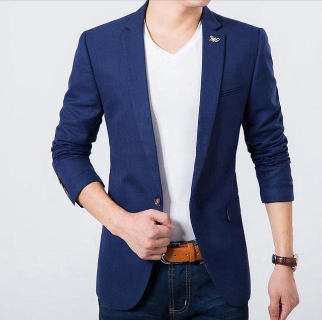 Осень мужчины leisure suit jacket a зерно пряжки чистого цвета изготовленные на заказ формальные свадебное dance party гости blazer jacket