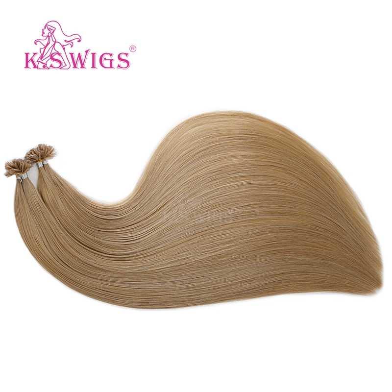 K.S парики 16 ''20'' 24 ''28'' Remy Кератин предварительно скрепленные капсулы ногтей u-кончик человеческих волос для наращивания двойной нарисованные прямые fusion волосы