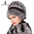Flores de invierno las mujeres rex conejo del sombrero de piel con piel de zorro gorros de punto 2016 nueva moda de la buena calidad de las señoras de piel real tapas