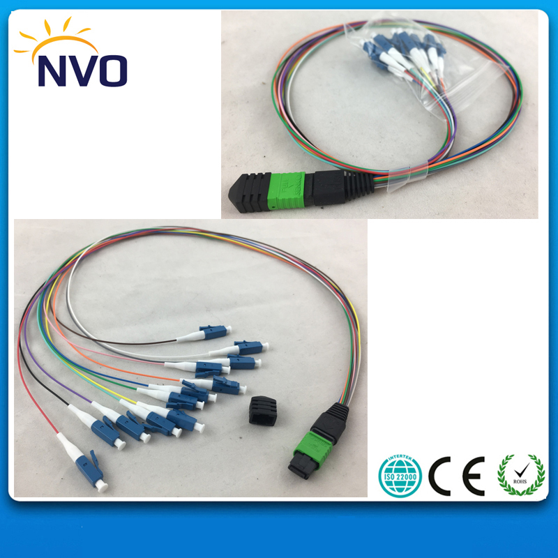 2Pcs/Lot,MPO Female to 12cores harness LC/UPC Fiber Optic Fan Out Pigtail,Insertion loss:0.35dB,SM,SX,0.9mm,50cm Length
