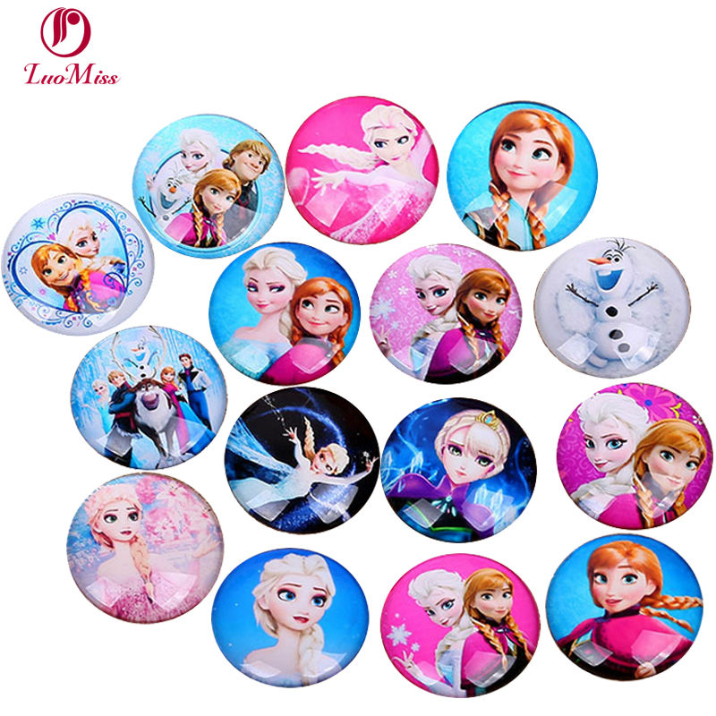 30pcs 10/12/14/16/20mm Glass Cartoon Beauty Pattern Round Handmade Cabochons Ice Princess Anna And Christof Hill Diy Ornaments