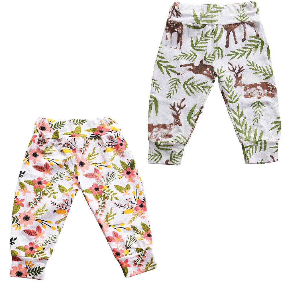 Newborn Baby Boy Girls Bottoms Deer Floral Pattern Harem Pants Leggings Pants 0-24M