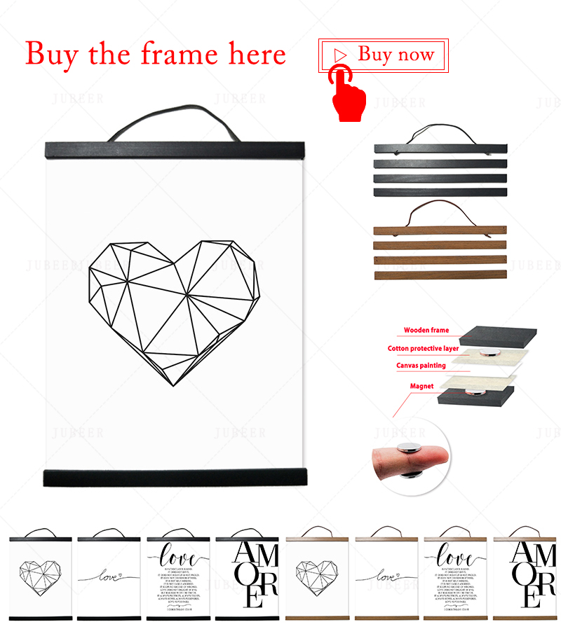 HTB1Ttibe21H3KVjSZFHq6zKppXa6 Scandinavian Style Love Poster Black and White Canvas Painting Amore Wall Pictures For Living Room Nordic Decoration Home Art