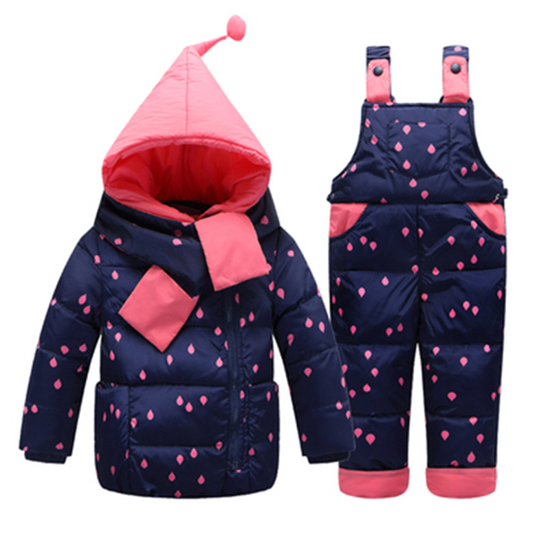 1-3 Years Baby Girl Winter Down Clothing Sets Winter Dot Print Hooded Newborn Infant Toddler Snow wear Coat +Overalls Pants Set calico print overalls