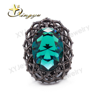11 11 Brazilian Hot Sale Product Dark Green Glass Engagement Ring Man Ring Gold Plating Ring