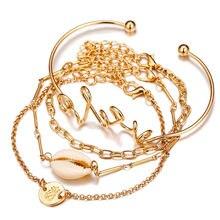 Bohemian Shell Love Turtle Coin Pineapple Bracelet Set 2019 Geometric Statement Bangle Female Fashion Jewelry Gift