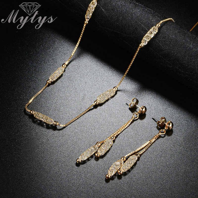 Mytys Bisuteria Đồ Trang Sức Lưới Pha Lê Trang Sức Sets New Arrival Liên Kết Chuỗi Ống Dây Filled Necklace Và Dangle Earrings Cn339