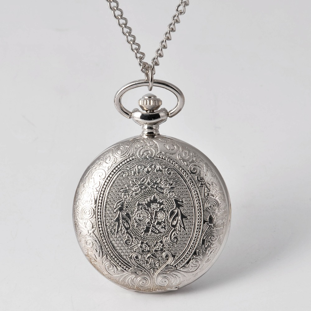 Engraved Pattern Design Silver Pocket Watch World Of Warcraft Pocket Watches  Retro Bronze Hollow Lovely Gift Chain Antiques