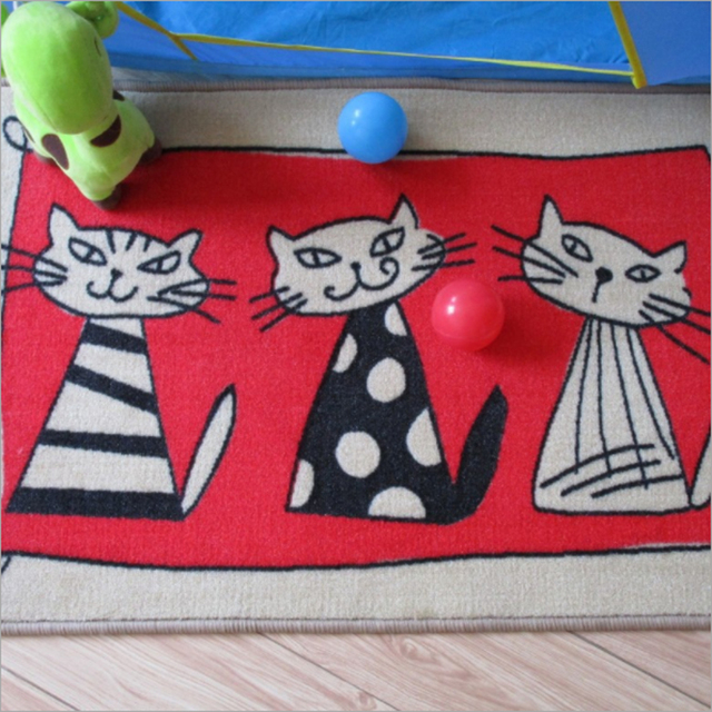 US $13.9 |Red Schöne Cartoon Katze Hund Streifen Design Fußmatte Nicht Slip  Tier Muster Maschine Waschbar Wohnzimmer Schlafzimmer Teppich in Red ...