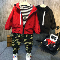 3pcs Boys Autumn Spring Clothing Set Red Black Zipper Hooded Jacket Striped T Shirt And Camouflage