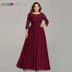 Платья с длинными рукавами Ever Pretty, шифоновое темно-синее платье большого размера, с длинным рукавом, трапециевидного силуэта, длинное круже...
