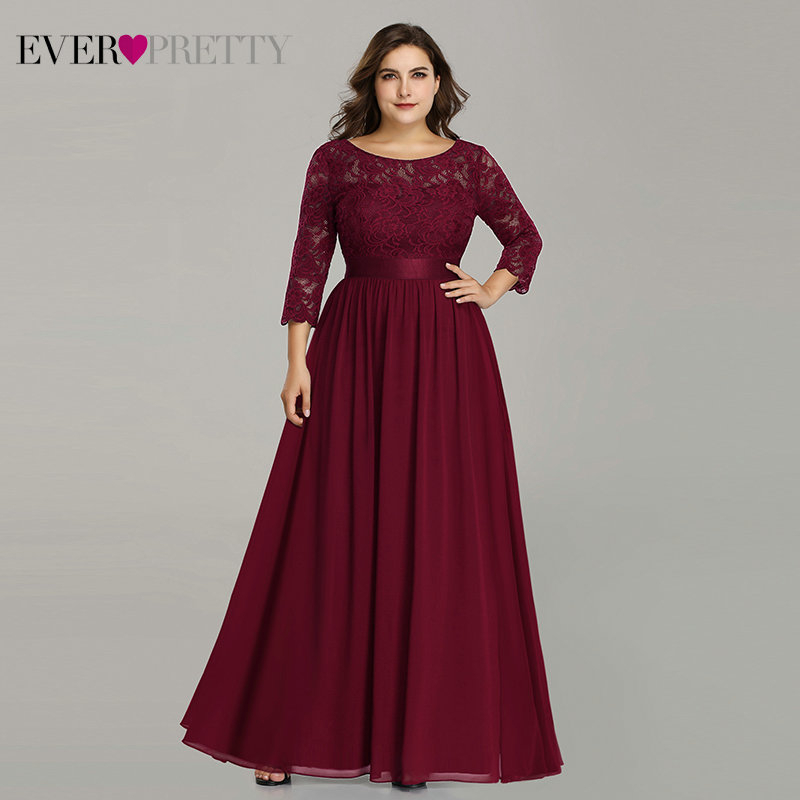 Plus Size Ever Pretty   Evening     Dresses   Long EP07412 Elegant Long Sleeve A-line Lace Chiffon Navy Blue Winter Wedding Guest Dresse