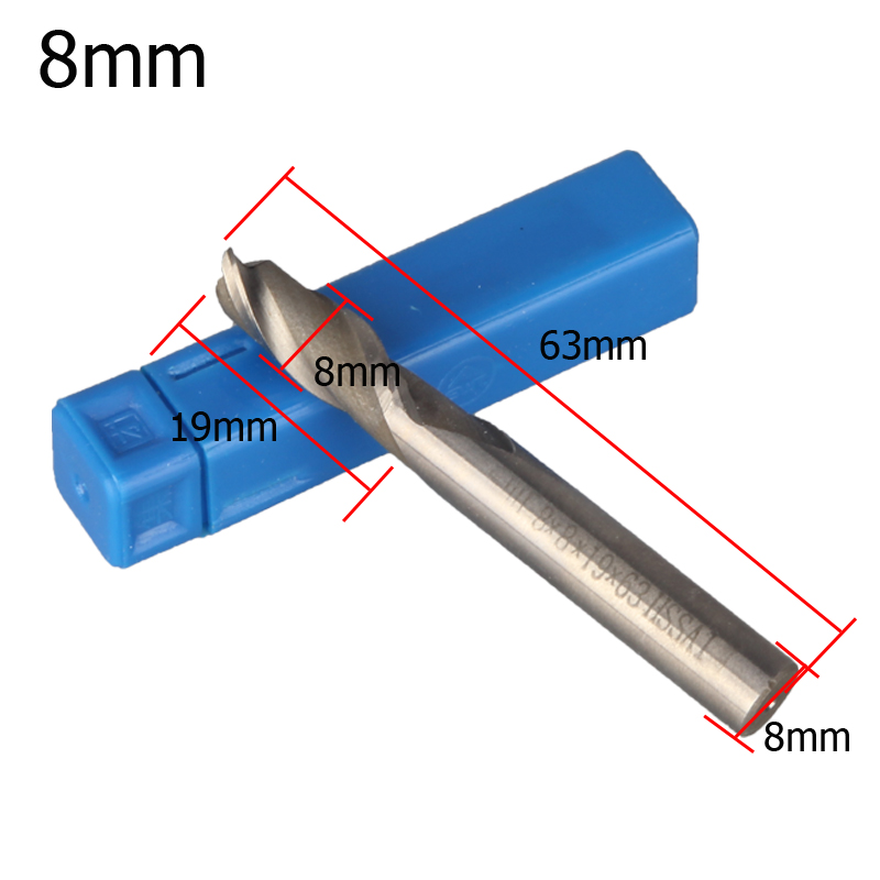 1PCS Carbide End Mill HSS-AL 2 Flutes 8mm Diameter Milling Cutter Straight Shank Router Bit CNC Tools Free Shipping