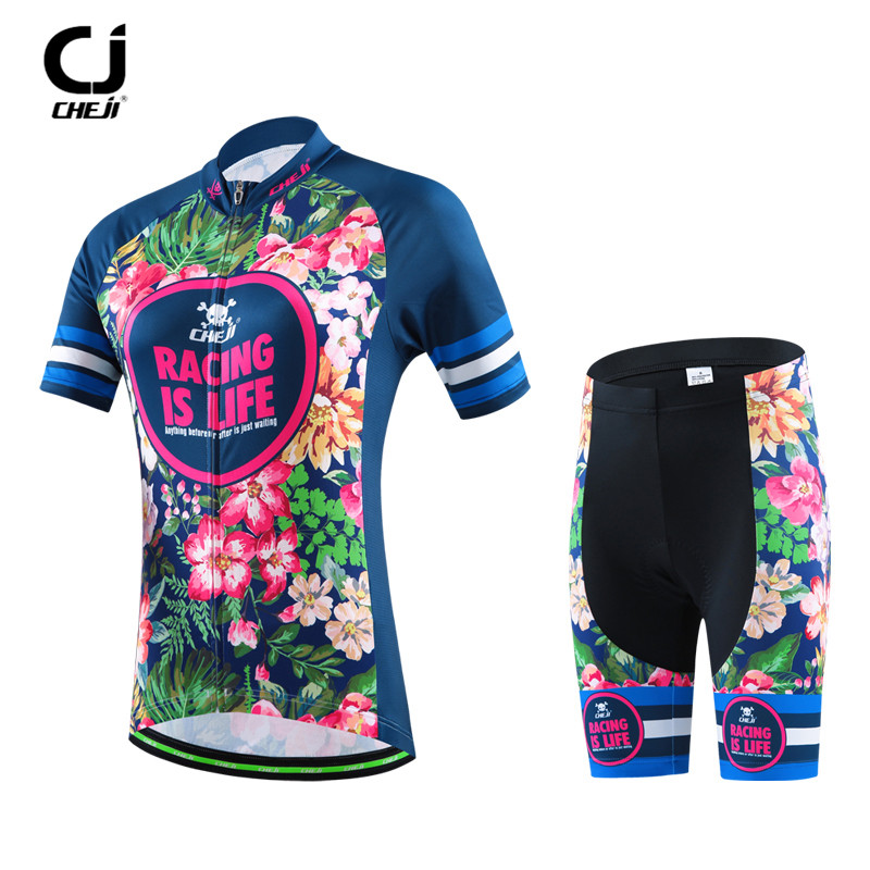 CHEJI Mountain Cycling Jersey Short Sleeve Riding Running Sportswear Cycling Clothing Ropa Ciclismo Road Bicycel Cycling