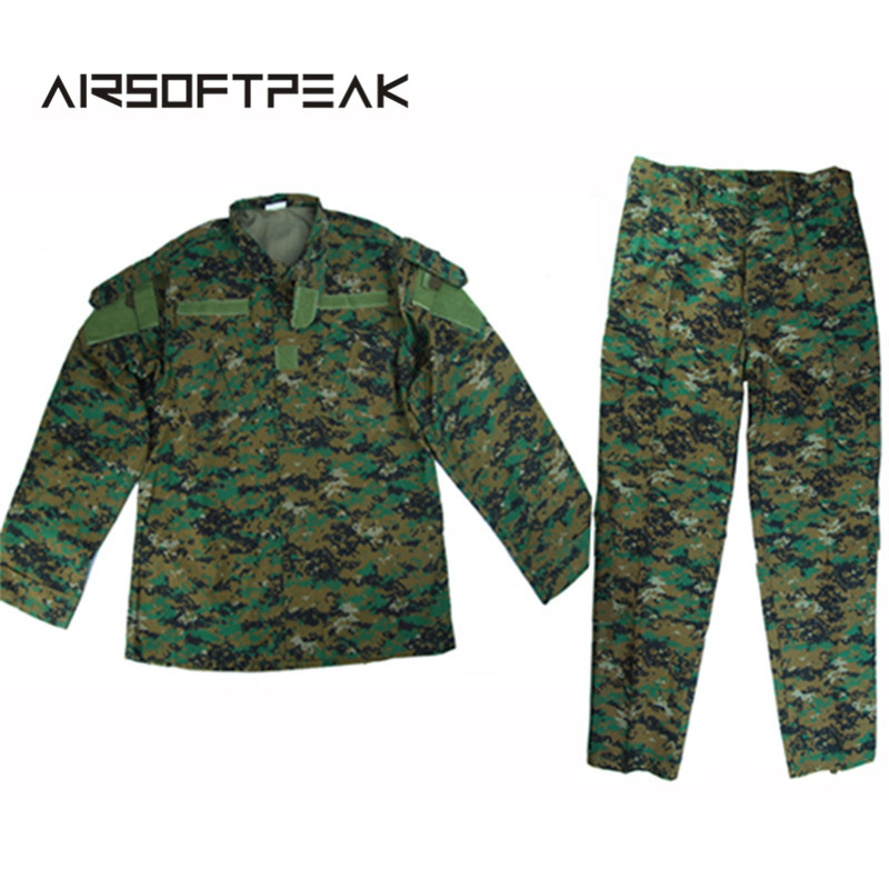 Stand Collar Full Sleeve Shirt Long Pant Men's Airsoft Wargame Hunting Combat Military Tactical Uniform Camouflage Ghillie Suit men combat field shirt long cargo pant hunting airsoft ghillie suit camouflage clothes military bdu tactical uniform set