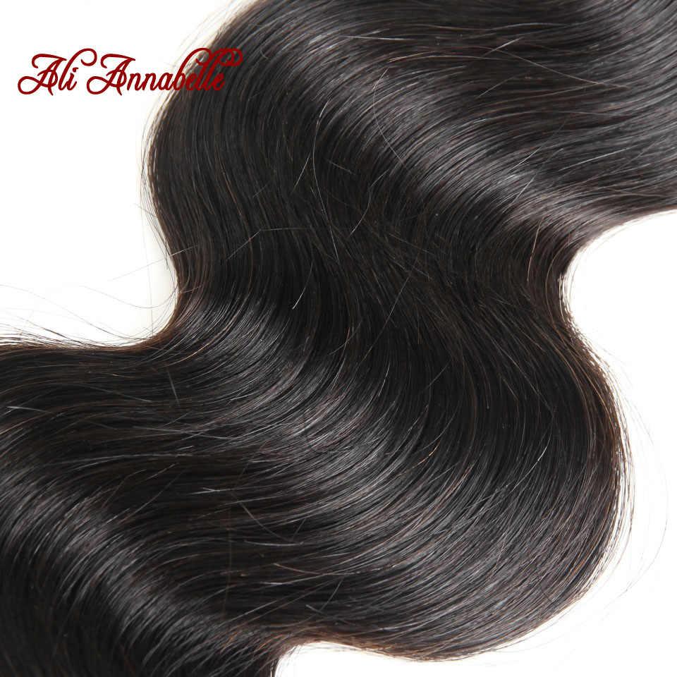 ALI ANNABELLE волосы индийские объемные волнистые 3 пучка с кружевной фронтальной 100% человеческие волосы пучки с закрытием remy волосы для наращивания