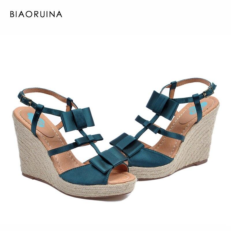 BIAORUINA Women s T strap Sandals Back Buckle Handmade Hemp Wedges Fashion High Heel Platform Ladies