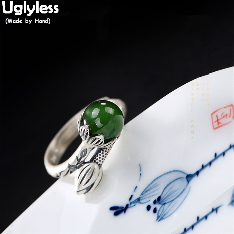 Uglyless Real 925 Sterling Silver Nature Green Jade Ball Finger Rings Women Retro Ethnic Lotus Ring Handmade Jasper Fine Jewelry