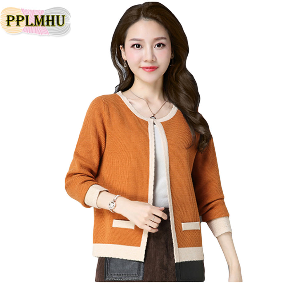 Women Long Sleve Knitted Cardigan Jacket Casual Color Patchwork O Neck Sweater Coat Plus Size 3XL