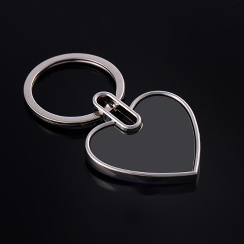 50Pcs Blank Heart Metal Key Chain Tungsten steel Promotion Key Tags Gift Customize Logo Laser Keyrings