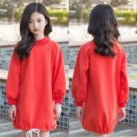 children dress 2018 Casual loose design girls dresses autumn kids clothes long sleeve sweatshirt dress velvet lined red hoodies