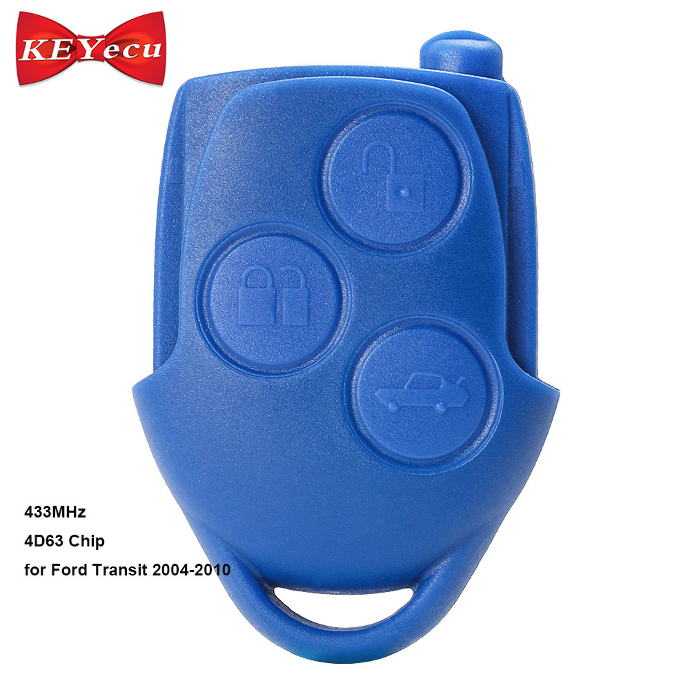 KEYECU оригинальный транзитный дистанционный ключ 3 кнопки FOB 433MHz 4D63 для Ford Transit WM VM 2006 2014 P/N: 6C1T15K601AG