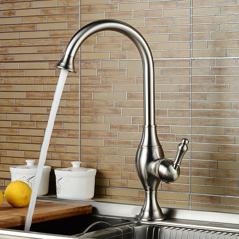 Deck Mounted Kitchen Sink Faucets High Arch 360 Degree Rotating Swivel Cold Hot Mixer Water Tap Single Handle Single Hole Taps
